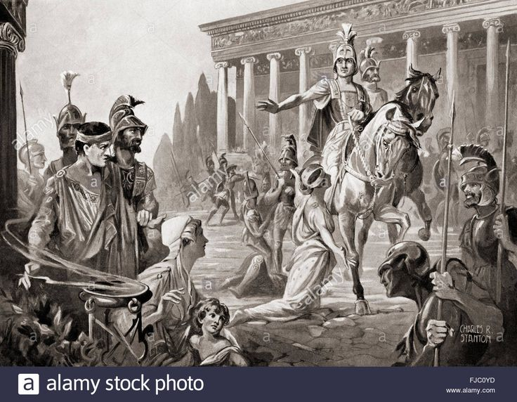 Download this stock image: The sacking of Thebes, Greece, in 335 BC by Alexander The Great, aka Alexander III of Macedon. - FJC0YD from Alamy's library of millions of high resolution stock photos, illustrations and vectors.
