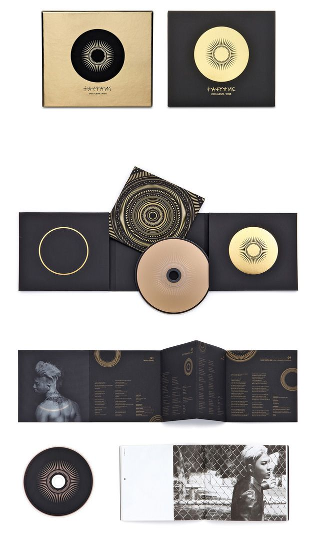 """Taeyang's second album """"Rise"""" is available in a standard and a limited deluxe edition, along with a DVD collection for Korea and Japan, and a limited vinyl LP collection. The packaging is based on the key visual of an annular eclipse and the concept of """"transformation"""" in order to symbolise the musical transformation the Korean pop artist has undergone since his debut. The back side of the album shows simple icons that depict the process of such an annular eclipse. The LP package was…"""