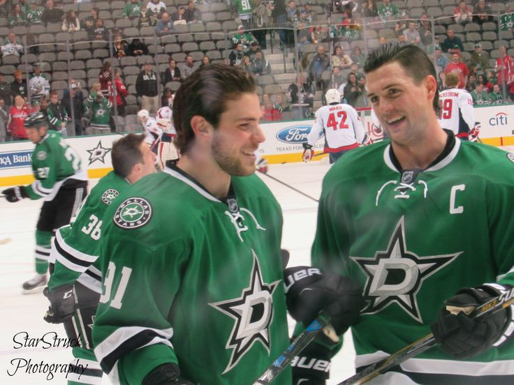 Dallas Stars vs. Washington Capitals | American Airlines Center | 1.17.15 | Photo by me: (Twitter/Tumblr: @StarStruck014; Pinterest: StarStruck14) | Bennguin!! Lots of laughs between Tyler Seguin and Jamie Benn during warm ups!