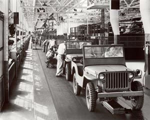 1945 jeep assembly line at Ford.  Photo:  Courtesy Ford