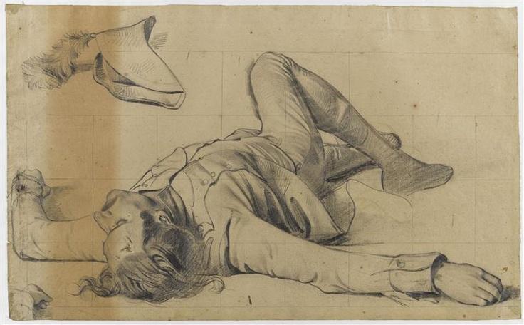 """""""LA BATAILLE DE RIVOLI"""" -  étude pour le soldat mort allongé au premier plan du tableau -  Philippoteaux Henri-Félix-Emmanuel (1815-1884)"""