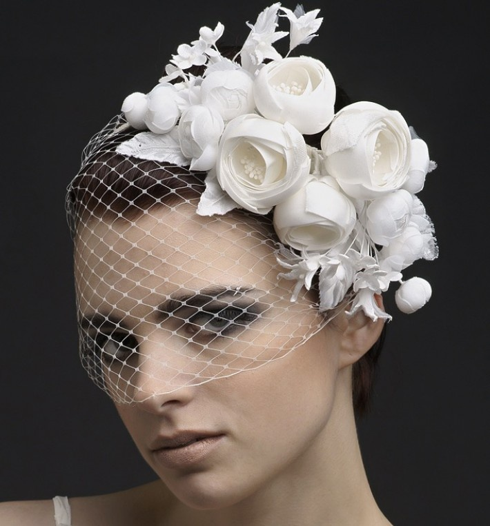 www.oliviaheadpieces.com ADABELLE.- Silk & velvet sculptural blossoms crafted into a russian netting, satin ribbon wrapped headband. Bring a modern artistic mood to your outfit with this utter masterpiece.    Available white, ivory, red.