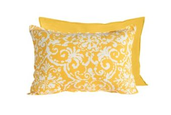 Bright Yellow and White Pattern Pillow