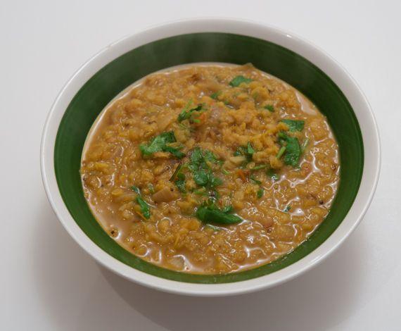 Dal Bhat, Tibetan Style ||  red lentils (masoor dal), 1 small red onion, 2 cloves garlic, 1 tablespoon ginger, ½ teaspoon mustard seeds, ½ teaspoon turmeric, ½ teaspoon cumin seeds (jeera), ½ teaspoon coriander powder, 1 medium tomato, 2 tablespoons cilantro and/or green onion, basmati rice (or any kind you wish) Indian chutney or pickle