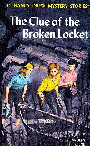 The first Nancy Drew Mystery book I ever read...  and so my lifelong devotion began!          #11 The Clue of the Broken Locket • 1965