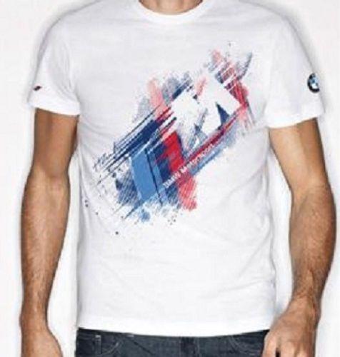bmw men 39 s white motorsport m stripes logo tee t shirt s. Black Bedroom Furniture Sets. Home Design Ideas