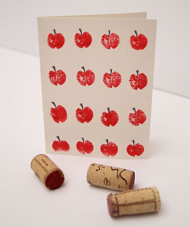 Apple Cards: cut off a tiny slice from the top and bottom of the wine cork to make an apple shape. Print with red ink or paint, add stems with pen.