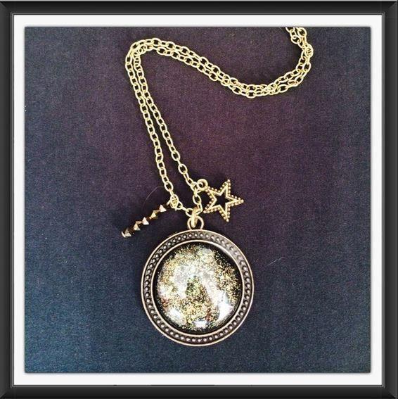 Collier cabochon Constellation chaine couleur bronze de la boutique Crystalglamchic sur Etsy