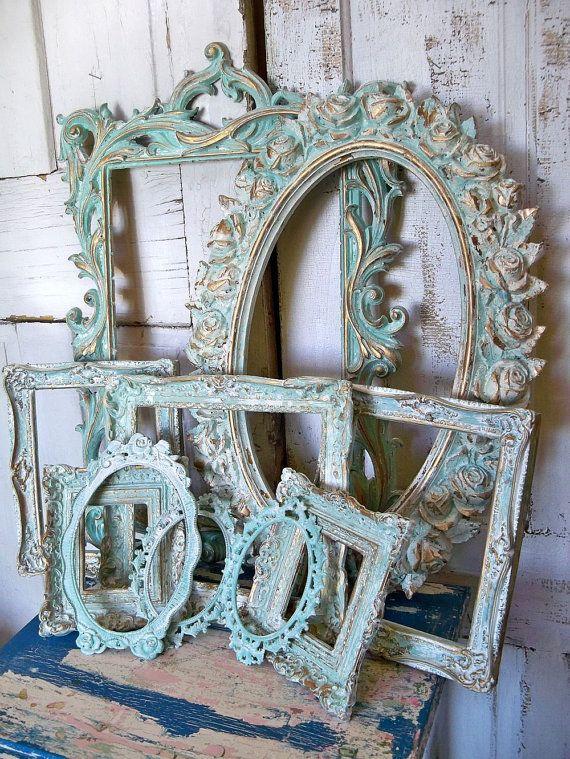 Aqua white ornate frame grouping, vintage antique mix distressed Baroque gesso styles Anita Spero.