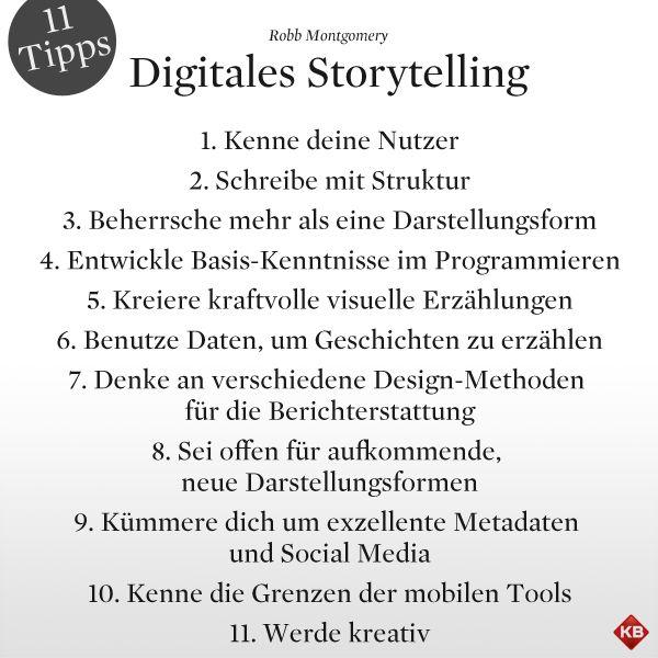 Elf praktische Tipps für digitales Storytelling von Robb Montgomery. Der ganze Artikel, jetzt auch mit englischer Version:  http://www.kircher-burkhardt.com/#!/blog/robb-montgomery-das-smartphone-als-newsroom-text-ist-nur-eine-von-vielen-moglichkeiten