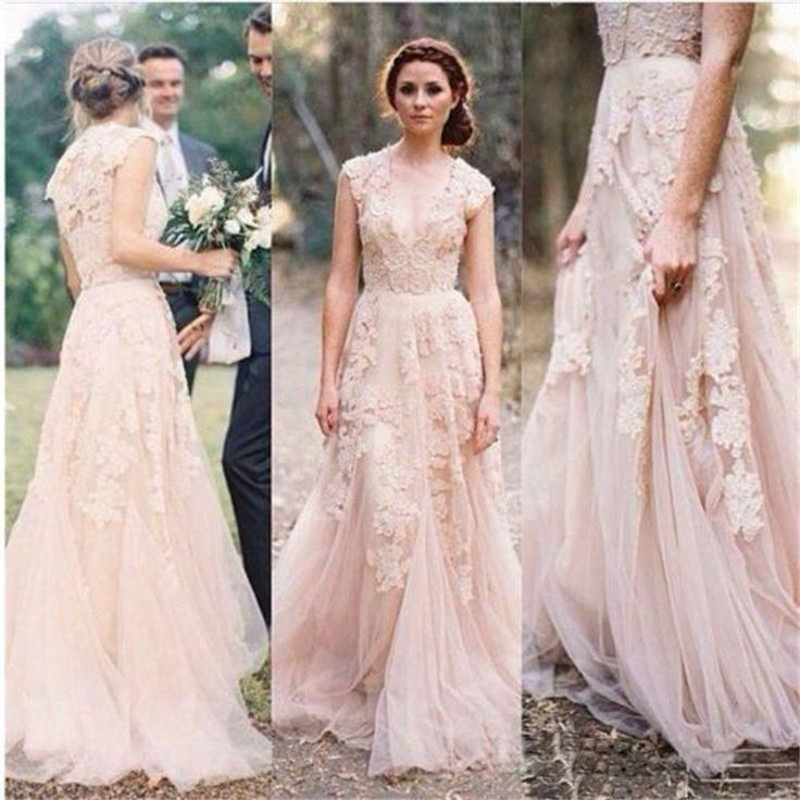 Blush Wedding Dresses Vintage Lace Appliques And Tulle Long Bridal Gowns V Neck Floor Length Elegant Dress For Brides Gown For Party Grecian Wedding Dresses From Firstladybridal, $104.65| Dhgate.Com