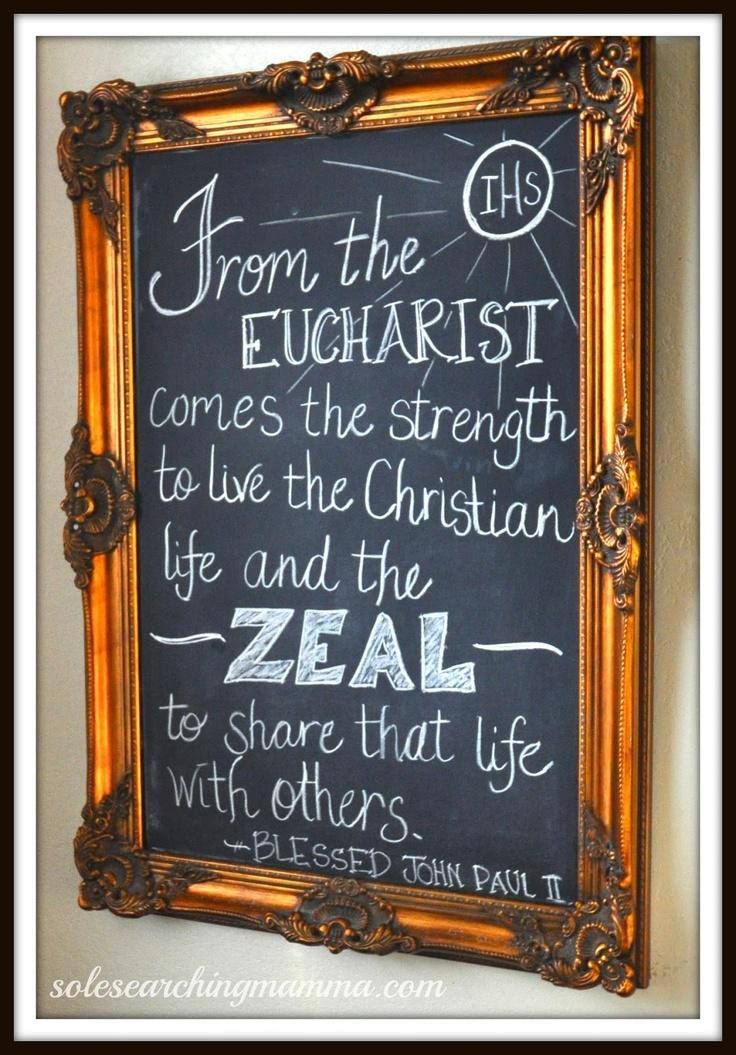 Make a decorative home chalkboard to include inspiring quotes from the saints!