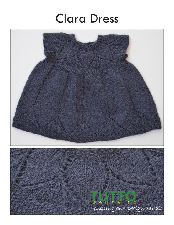 Knitting pattern - Lace baby dress. Figering/4 ply, 3.25mm/40cm circular needles.