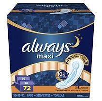 Always Maxi Pads, Overnight (72 ct.)