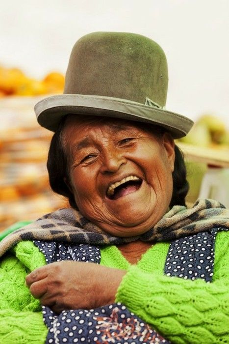 A happy Bolivian woman! Where in the world will you be on January 24, Global Belly Laugh Day? On Jan. 24 at 1:24 p.m. (local time) smile, throw your arms in the air and laugh out loud. Join the Belly Laugh Bounce Around the World.