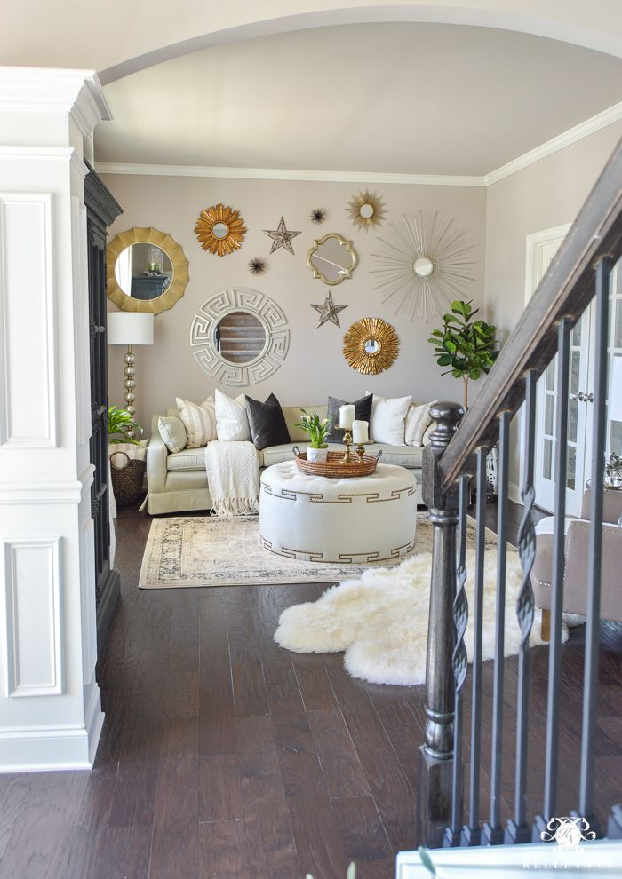 Gallery Wall Of Mirrors Above Living Room Sofa. Decked And Styled Spring  Home Tour   Kelley Nan