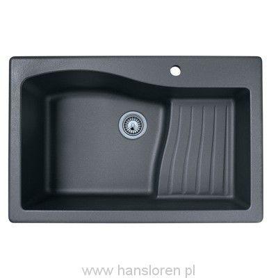 FOLK Hansloren zlewozmywak granitowy 1-komorowy 839x558 mm głęboki czarny metalik - FOCO-1WMD  www.hansloren.pl