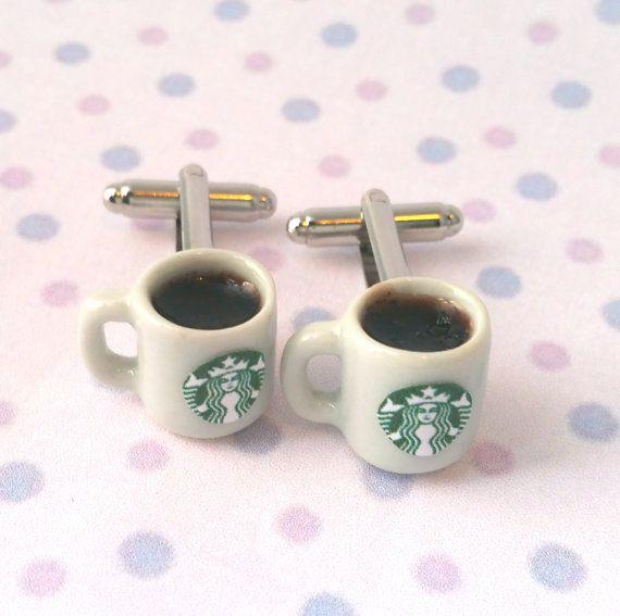 Miniature Starbucks Coffee Cufflinks by qminishop on Etsy