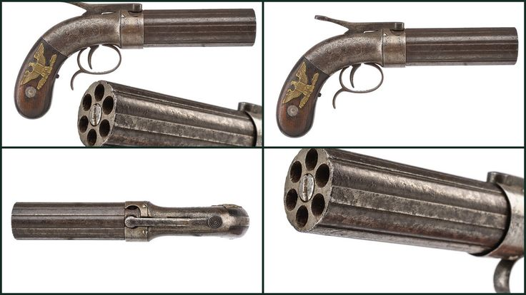 """A rare six shot percussion pepperbox revolver by Stocking   provenance: USA dating: mid-19th Century   A set of six, smooth, 7 mm cal. barrels with protruding ribs, marked """"STOCKING & CO WORCESTER - WARRENT CAST-STEEL""""; round, iron frame engraved with floral motifs; upper hammer with long spike that, when pushed, loads the hammer and rotates the cylinder; iron trigger guard with finger support. Wooden grip scales, one of them engraved with brass American Eagle."""