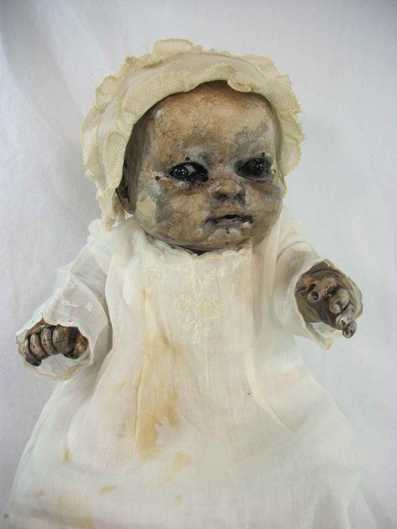 "What the...? Why would you want this hanging out in your house? Regular dolls are creepy as hell already.   One of A Kind Altered Art Creepy Doll ""Baby Rosemary"" Freaky Haunted Scary Odd Weird L.Cerrito Salvage Artist Doll on Etsy, $125.00"