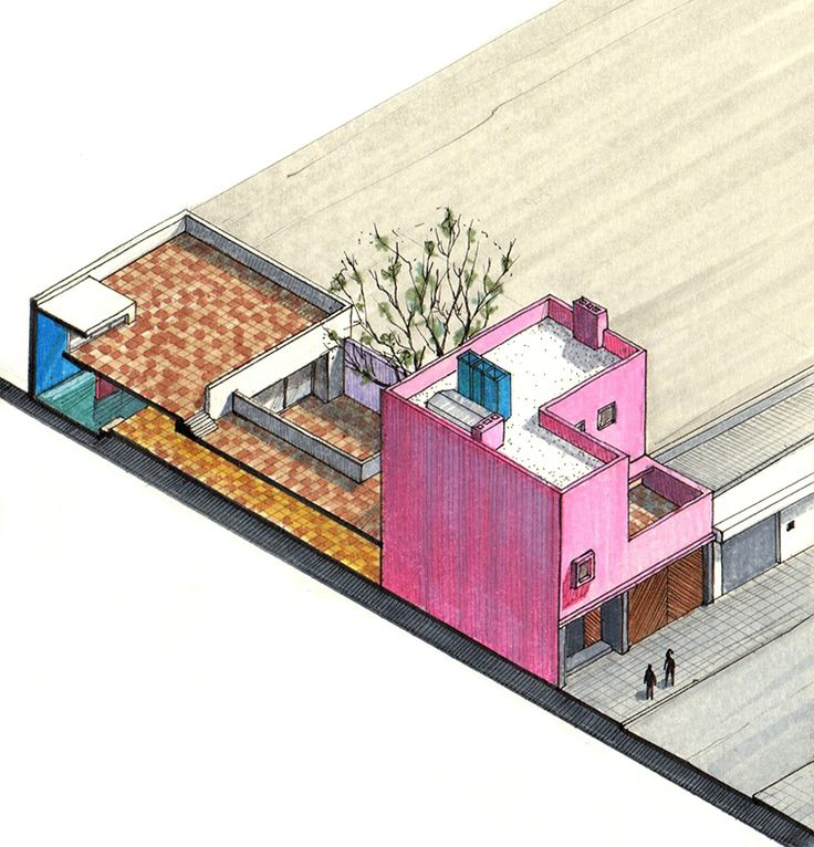 20 Beautiful Axonometric Drawings of Iconic Buildings,Gilardi House / Luis Barragán / 1976. Image Courtesy of Diego Inzunza - Estudio Rosamente