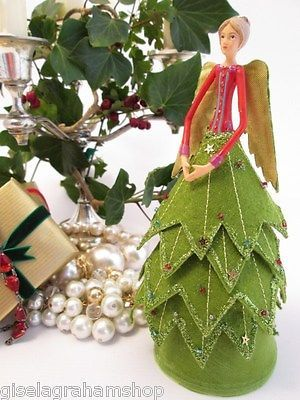 GISELA GRAHAM Christmas tree topper fairy angel sequins glitter unique & elegant