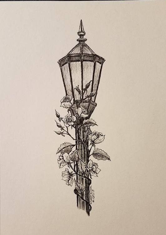 Lamp post- Original 5″ x 7″ Ink drawing