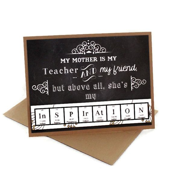 42 best mothers day gifts images on pinterest chemistry mothers day card science card for mom mum chemistry card periodic table chalkboard art gift idea teacher white dandylion urtaz Images