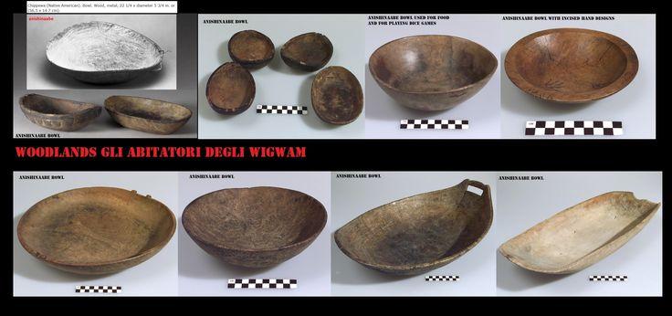 Ciotole e vassoi intagliati nel legno. Oltre che per usi di cucina si usavano delle ciotole per un popolare gioco d'azzardo.(dice games).