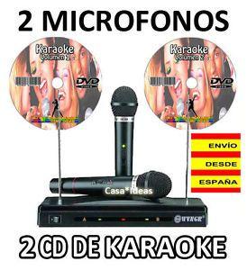a 2 microfonos inalambricos mas 2 cd de karaoke gratis 100 canciones en espanol