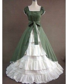Classic Green and White Gothic Victorian Dress