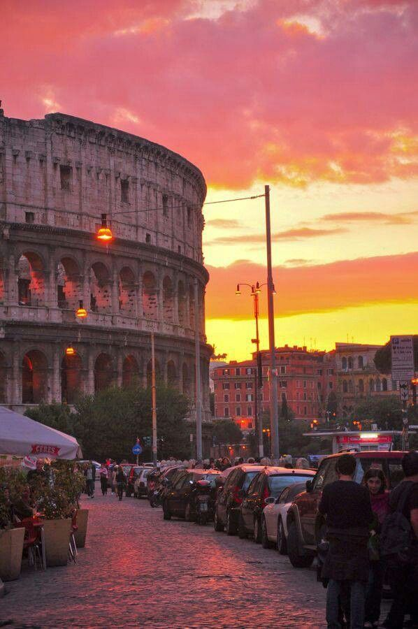 The Colloseum at sunset.