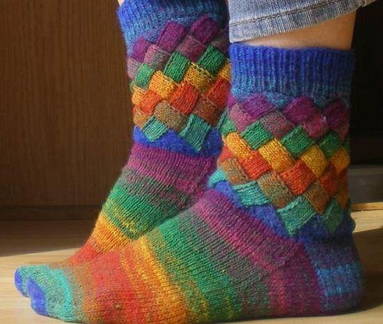 Entrelac Knitted Socks