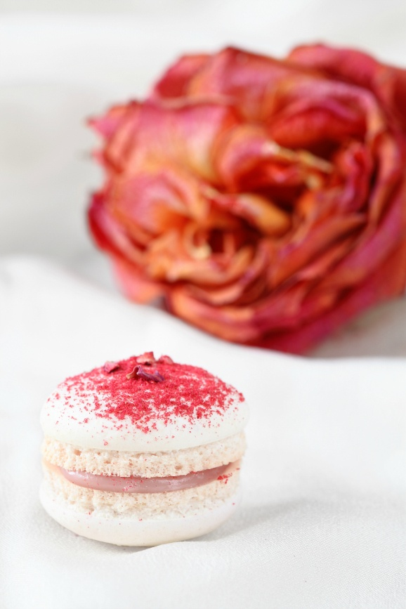 Rose Water and Raspberry Filling Macarons...What a great flavor combo!