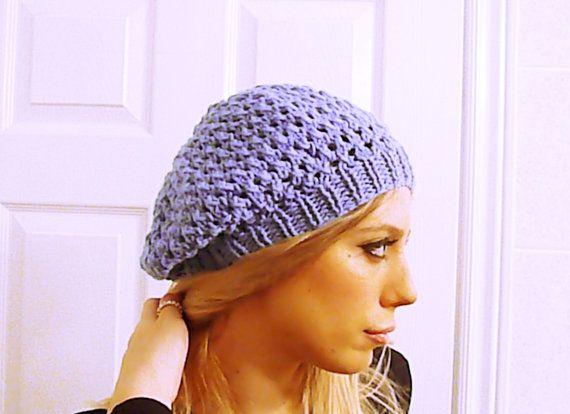 Knit beret hat in denim blue blue beret beanie by HandmadeTrend #knit #beret #beanie #hats #accessory #handmade