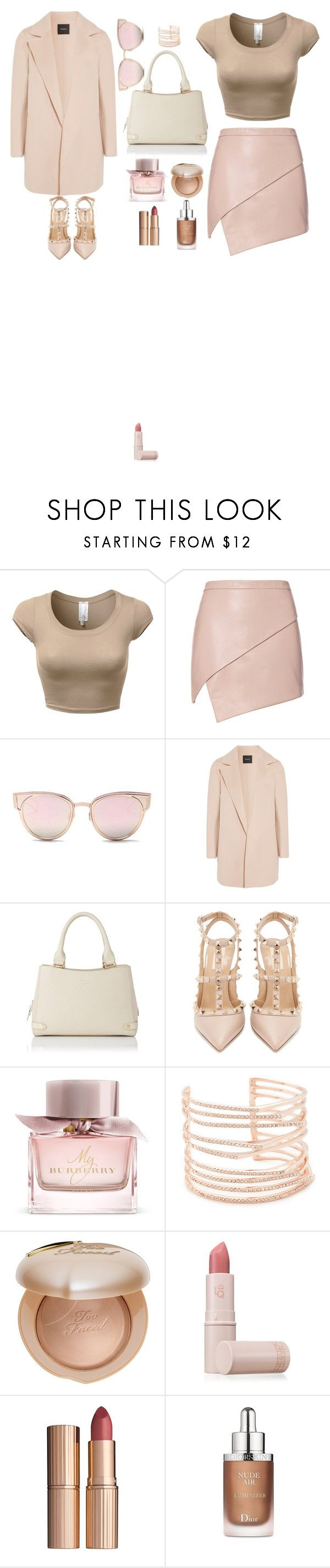 """""""Nude"""" by juliennevoka on Polyvore featuring mode, Michelle Mason, LMNT, Theory, L.K.Bennett, Valentino, Burberry, Alexis Bittar, Too Faced Cosmetics et Lipstick Queen"""