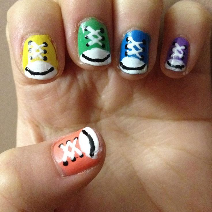 Sneakers Simple And Easy Nail Art Designs For Kids 0016 Part 33