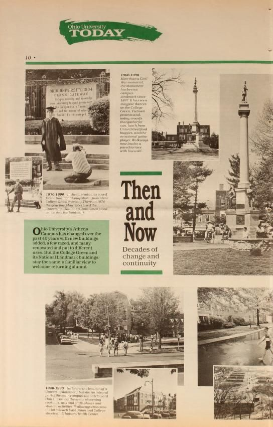 """Ohio University Today, Summer 1990. """"Then and Now."""" Comparing the landscape of Ohio University's campus from different decades. :: Ohio University Archives"""