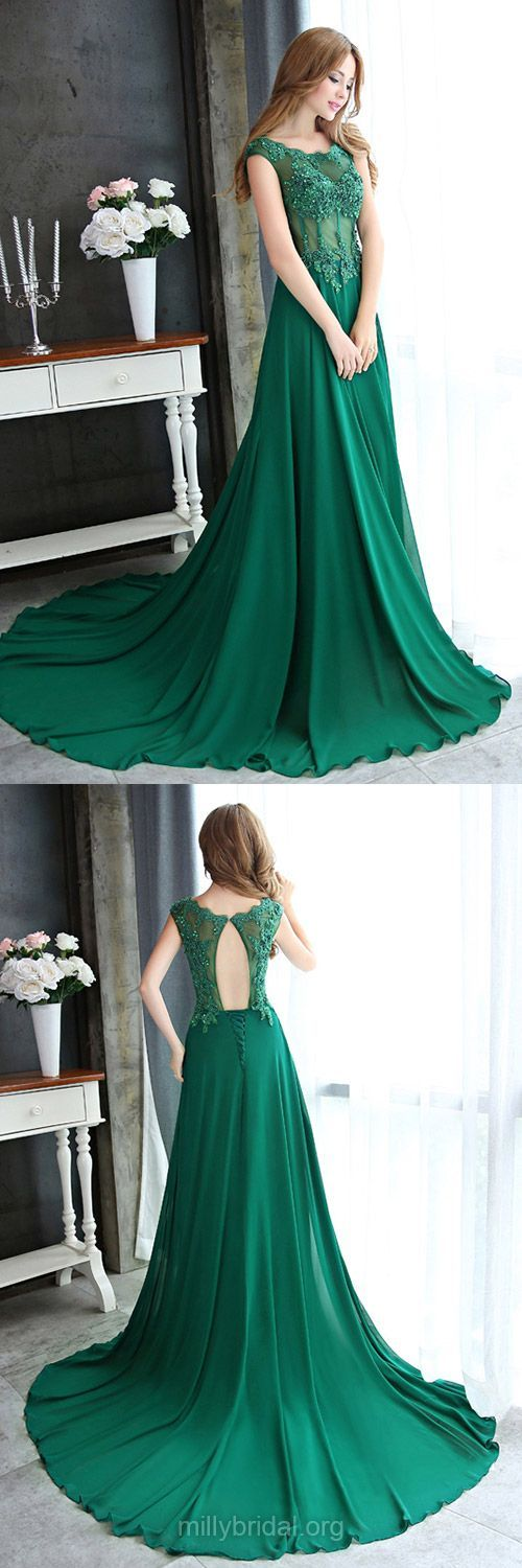 Green Prom Dresses Long, 2018 Prom Dresses A-line, Scoop Neck Formal Dresses Chiffon, Lace Party Gowns Open Back,Tulle Court Train Appliques Evening Dresses