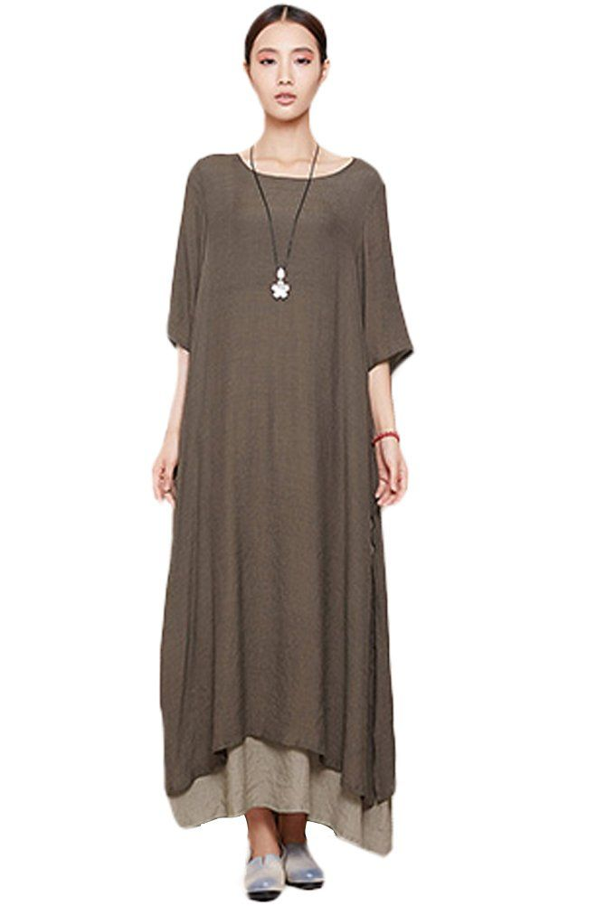 Mordenmiss Women's Summer New Short Sleeve Two Layers Maxi Dresses Coffee