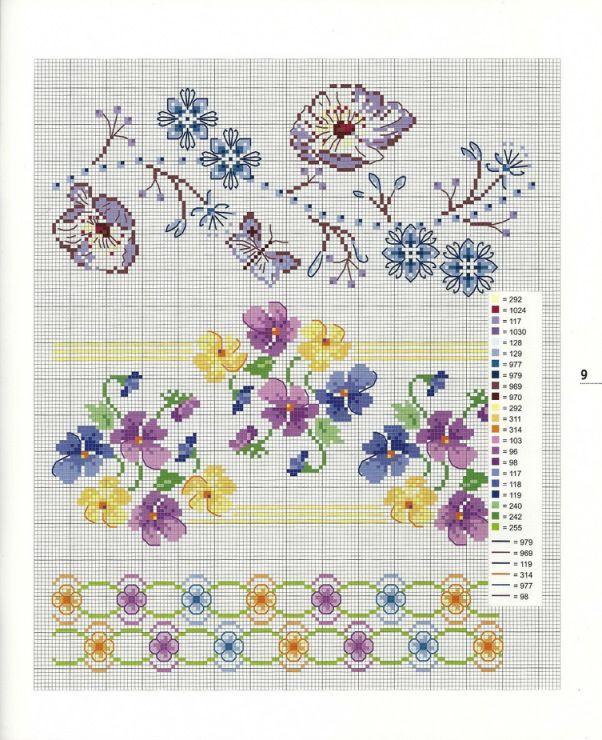 0 0 point de croix grille et couleurs de fils bordures, liserés fleurs pensées