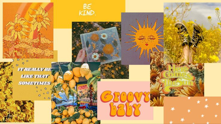 Hd wallpapers and background images Aesthetic warm yellow desktop screensaver collage | Screen ...