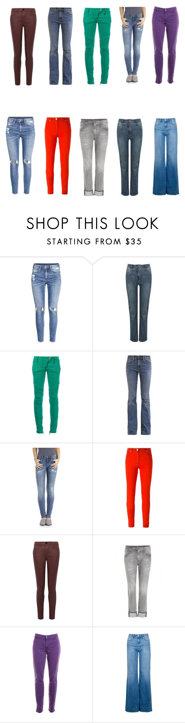 """""""брюки"""" by artemia-13 on Polyvore featuring мода, H&M, M&Co, Balmain, Levi's, BLANKNYC, Versace, 7 For All Mankind и Rich & Skinny"""