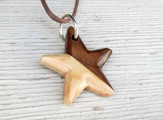Wooden Star Necklace  Handcrafted Walnut & Maple by TheLotusShop, $18.95