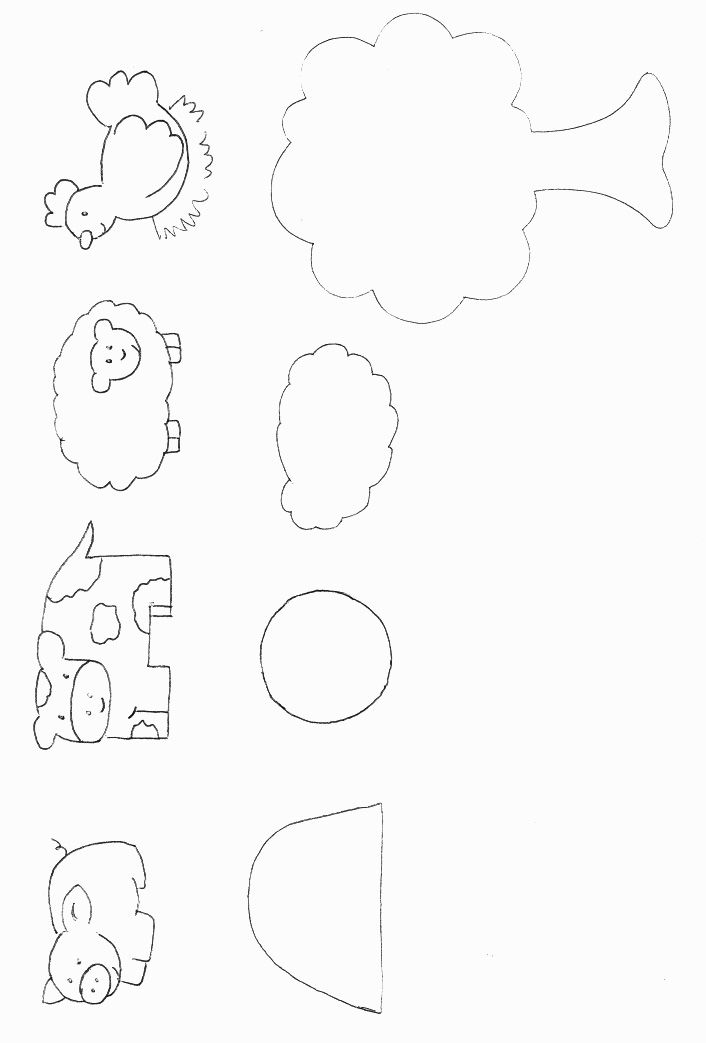 Farm Animals Template. This would make a cute felt board activity.