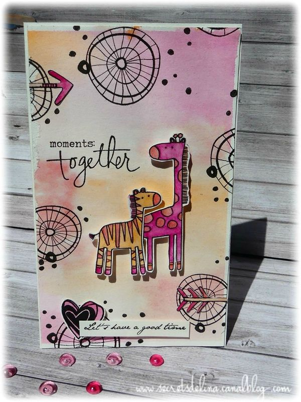 carte aquarelle girafe free watercolor card #scrap #secretsdelina #mftstamps