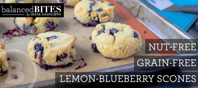 Easy Recipe: Lemon-Blueberry Scones [grain-free, nut-free, dairy-free] - Balanced Bites | Holistic & Paleo Nutrition in San Francisco, CA