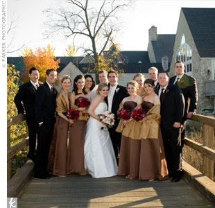 Brown Bridesmaids Dresses With Gold Drapes And Red Bouquets Are Beautiful For A Fall Wedding