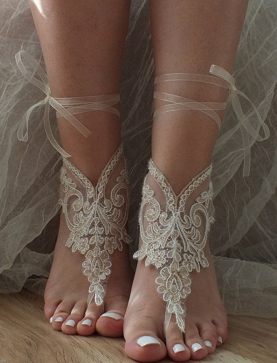 Champagne ivory frame Beach wedding barefoot sandals by ByVIVIENN