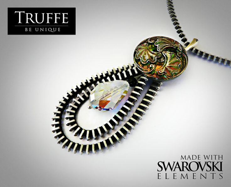 Zipper necklace made with Svarovski Crystal Elements and czech glass buttons.